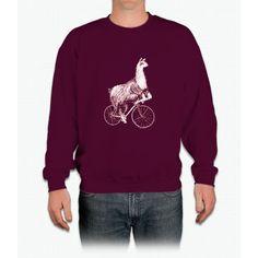 Llama on a Bicycle Tee Shirt Crewneck Sweatshirt