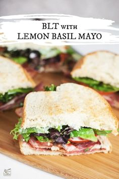 This BLT with Lemon Basil Mayo recipe is perfect for a quick and easy lunch. The zesty lemon basil mayo gives this simple BLT sandwich a gourmet twist! Sandwiches For Lunch, Soup And Sandwich, Mayo Sandwich, Lunch Recipes, Healthy Recipes, Sandwich Recipes, Yummy Recipes, Lemon Basil, Fresh Basil