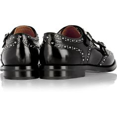 Church's Lana Met monk-strap studded leather brogues ($700) ❤ liked on Polyvore featuring shoes, oxfords, black, black leather brogues, wingtip oxfords, black low heel shoes, black oxfords and wingtip shoes