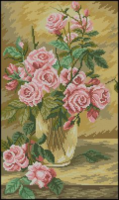 Peler Beads, Vintage Cross Stitches, Cross Stitch Rose, Ribbon Embroidery, Carnations, Cross Stitch Patterns, Crochet, Painting, Allah