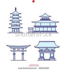 Sights of Japan, buildings of Japan, icons of buildings