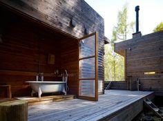 Via Gardenista. Half indoor, half outdoor bath at the Mountain Research facility in Tokyo by General Design Co.