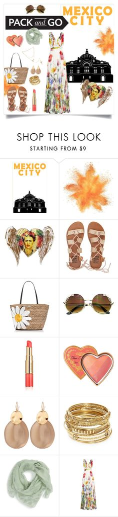 """Fly me to Mexico City!"" by queencharlotte1 ❤ liked on Polyvore featuring NOVICA, Billabong, Kate Spade, Estée Lauder, Alexis Bittar, ABS by Allen Schwartz, Alexander McQueen, Joelle, Pori and contestentry"