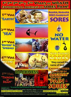 The Pain from the Sores Increase Exponentially in the & Vials of Wrath Revelation Bible Study, Revelation 16, Grandparents Day Crafts, Bible Study Notebook, Bible Scriptures, Bible Book, Bible Notes, Prayer Book, Book Outline