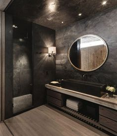 Stylish and bold black bathroom design with wood flooring and vanity ., Stylish and bold black bathroom design with wood flooring and vanity top. Dark Bathrooms, Amazing Bathrooms, Bathroom Black, Luxury Bathrooms, Master Bathrooms, Master Baths, Dream Bathrooms, Master Master, Marble Bathrooms