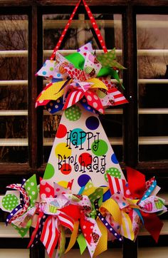 Another custom birthday hat! These just scream Happy Birthday! Available at Oh. Burlap Crafts, Wooden Crafts, Diy And Crafts, Wooden Door Signs, Wooden Doors, Burlap Door Hangers, Birthday Decorations, Birthday Wreaths, Wood Cutouts