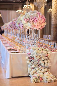 Blush Floral Runner & Centerpieces | Photography: Carasco Photography. Read More: http://www.insideweddings.com/biz/kesh-designs-chicago/8796/ Wedding Reception Decorations, Wedding Centerpieces, Event Design, Tablescapes, Wedding Day, Wedding Flowers, Floral Design, Wedding Planning, Mesas