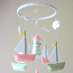 Beach theme mobile with sailboats and lighthouse