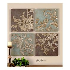 20 in. high to 29 in., 20 in. wide to 29 in., art, Plaques - Panels, traditional, uttermost, Damask Relief Blocks, Resin, Mdf, fratantoni lifestyles