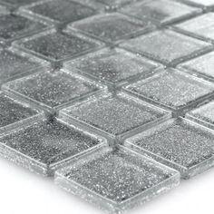 New Silver Grey Bathroom Tiles Reason Shower Accent Tile, Grey Bathroom Tiles, Bathroom Tile Designs, Marble Mosaic, Glass Mosaic Tiles, Self Adhesive Floor Tiles, Grey Glass, Glass Marbles, Stone Tiles