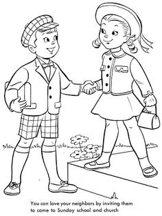It is a graphic of Declarative Love Thy Neighbor Coloring Pages