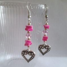 Pink shell heart earrings  £3.65