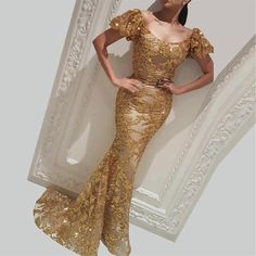 Sparkly Gold Mermaid Evening Dresses Sexy Poest Short Sleeeves Arabic Scoop Neck Prom Gown Plus Size Formal Party Pageant Dresses Gold Evening Dresses, Gold Prom Dresses, Long Prom Gowns, Mermaid Evening Dresses, Pageant Dresses, Sexy Dresses, Evening Gowns, Fashion Dresses, Lace Dresses