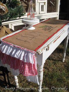 Burlap Table Runner  Farm Fresh Yuletide by SweetMagnoliasFarm, $58.50