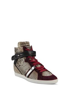 Women's Sneakers - Barbara Bui - PYTHON AND LEATHER SNEAKERS.