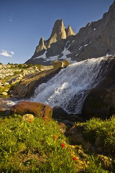 Warbonnet Peak and waterfall at Cirque of the Towers, Wind River Range, Wyoming by i8seattle, via Flickr