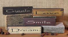 Shelf Sign - Giggle - Set of Four Primitive Wood Signs, Country Primitive, Country Decor, Country Style, Tabletop Signs, Rug Hooking, Country Kitchen, Wood Projects, Home Accessories