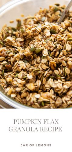 A cozy, fall-inspired Pumpkin Flax Granola recipe that's SO delicious! Made with oats, pumpkin seeds, flax seeds, walnuts, honey, maple syrup, and cinnamon or pumpkin spice, this healthy granola recipe is full of flavor. Add it to yogurt, pudding, smoothies, peanut butter toast, or enjoy it on its own for a great way to start the day! Lemon Recipes, Chili Recipes, Apple Recipes, Pumpkin Recipes, Fall Recipes, Soup Recipes, Healthy Breakfasts, Healthy Snacks, Healthy Recipes