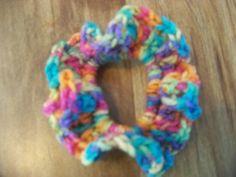 Hair Scrunchies - Hand Crocheted - Pinks Oranges Teal Lt Greens Lavenders (#04) #Scrunchies #Any