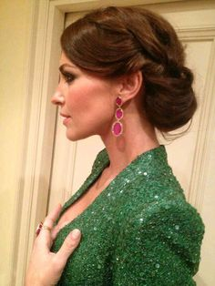 What's not to love? Up-do, earrings, emerald green sequence top. Beautiful!