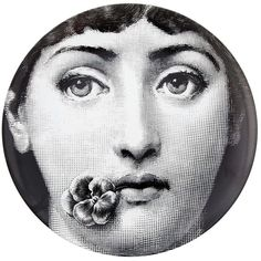 Fornasetti Flower Girl Plate (140 CHF) ❤ liked on Polyvore featuring home, kitchen & dining, dinnerware, kitchen, black, rose china, black and white plates, black dinnerware, fornasetti plates and black white dinnerware