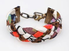 Rainbow Bright Braided Cuff Bracelet by thiefandbandit on Etsy, $18.00