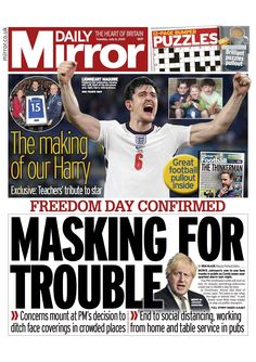#TomorrowsPapersToday - Twitter Search / Twitter St George Flag, It's Now Or Never, The Daily Telegraph, Freedom Day, Mr Johnson, Newspaper Headlines, Stomach Problems, Culture War, Daily Express