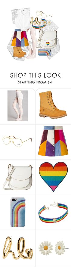"""Untitled #13"" by jiofalcon ❤ liked on Polyvore featuring Forever 21, Timberland, Ray-Ban, Marc Jacobs, Frye, INC International Concepts, Chloé, white, Daisy and rainbow"
