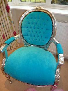 French Style Turquoise Velvet Bedroom Chair