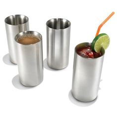 Cold Maintaining Stainless Steel Drinkware ~ The glasses' dual stainless steel walls prevented ice from melting 45-105 minutes longer than single-wall plastic, ceramic, or glass cups. The 18-8 stainless steel will never break like glass and won't develop bacteria-harboring pits or cracks like plastic. The 12-oz. capacity cups have a brushed exterior and weigh only 8 oz. each for practical, everyday use. Dishwasher safe.