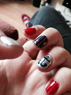 Sailing theme to my nails tonight with red, blue and silver
