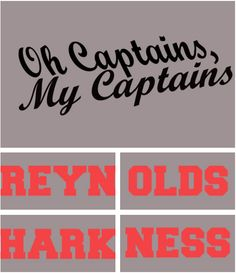 """Oh Captains, My Captains""     Doctor Who/Torchwood & Firefly/Serenity Mash-Up, T-shirt design.    - names appear on back"
