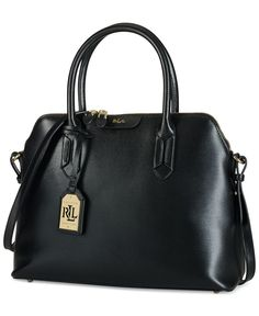 """Richly hued leather and a clean silhouette give this domed satchel a look of elegant efficiency. By Lauren Ralph Lauren.   Leather   Imported   10"""" W x 13"""" H x 5"""" D   Interior features 1 zip pocket"""