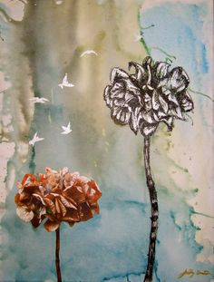 This is a small piece I did on canvas using  #ink #water-colour paints , collage and pen. I aimed to express the freedom, beauty and fragility of nature.
