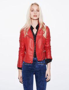 5a1a90ee58493 Veste biker femme, rouge, simili cuir, coupe cintrée, fermeture zippée,  poches
