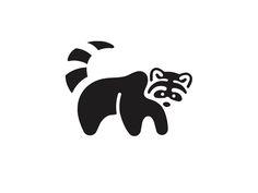 Raccoon logo symbol icon illustration black white animal graphic