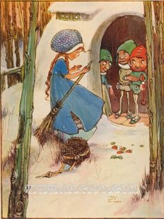Mabel Lucie Attwell - Grimm's Fairy Tales -  Thumbelina meets the Gnomes