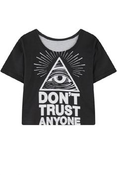 Black Eye and Letter Print Short Sleeve Crop Tee - Beautifulhalo.com
