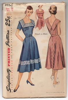 1950's Simplicity One-Piece Sun Dress Pattern  by backroomfinds