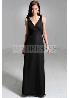 Wrap-across V-Neck Chiffon A-Line Bridesmaid Dress with Pleated Natural Waistband - Bridesmaids - Wedding Party Dresses