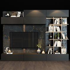 Tv Unit Interior Design, Tv Wall Design, Living Room Modern, Home Living Room, Living Room Decor, Home Room Design, House Design, Living Room Tv Unit Designs, Tv Shelf