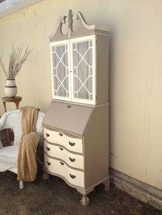 Antique secretary hutch painted cream & beige/grey. Distressed. Romantic Country