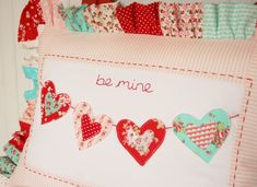 "Adorable Valentine pillow from Tasha Noel at ""A Little Sweetness."""