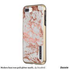67543c995ae8 Modern faux rose gold glitter marble texture image incipio iPhone case