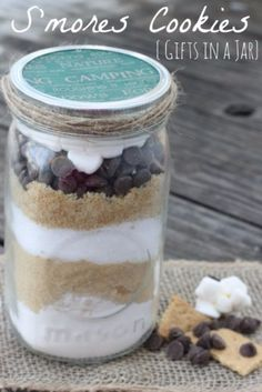 Best Mason Jar Cookies - S'mores Cookies Gifts In A Jar - Mason Jar Cookie Recipe Mix for Cute Decorated DIY Gifts - Easy Chocolate Chip Recipes, Christmas Presents and Wedding Favors in Mason Jars - Fun Ideas for DIY Parties and Cheap LAst Mintue Gift Ideas for Friends, Family and Neighbors http://diyjoy.com/best-mason-jar-cookie-recipes