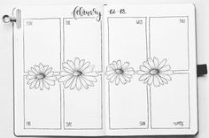 Bullet journal weekly layout, flower drawings, flower drawings, calligraphy title. | @kreafine