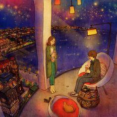 Vamos falar em frente da janela com uma bela nightscape. É bom. Não temos falado assim em um tempo. Sinto que estou num sonho Veja a ilustração: grafolio.com/works/177861