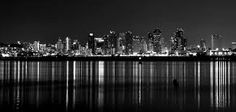 Downtown San Diego in Black & White San Diego, New York Skyline, Black And White, World, City, Places, Pictures, Photography, Travel
