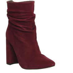 Office Infamous Slouch Boots ($49) ❤ liked on Polyvore featuring shoes, boots, ankle booties, ankle boots, burgundy suede, women, slouch boots, slouchy ankle boots, leather bootie and leather booties