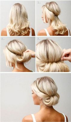 20 simple updos for medium hair - Frisuren - Cheveux Femme Easy Updo Hairstyles, No Heat Hairstyles, Headband Hairstyles, Wedding Hairstyles, Simple Hairdos, Bridal Hairstyle, Hairstyle Ideas, Flapper Hairstyles, Great Gatsby Hairstyles